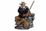 Figurine, Man Fishing, 6cm, Blue